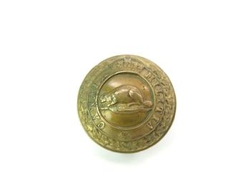 Canada Militia Button. Single Earring. Large Victorian Brass Button. Beaver, Crown. J.R. Caunt & Son Ltd. Montreal Antique Military 1800s