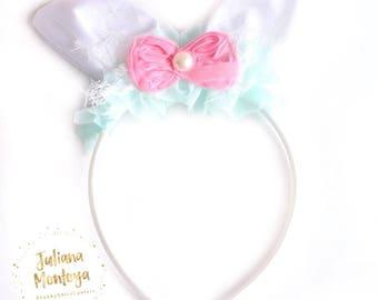 Bunny Ears Headband, Easter Bunny Ears, Baby Bunny Ears, Shabby Chic Headband, Girls Bunny Ears, Spring Headband, Pink and Aqua, Handmade