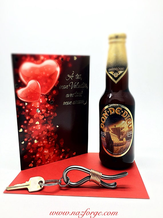 KEYCHAIN Bottle Opener Valentines Gift for Him Boyfriend Husband Man Men  Personalized Option Available Forged by Blacksmith Naz