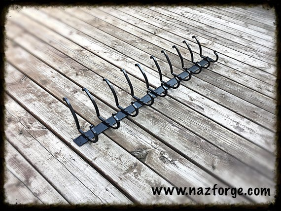 FORGED COAT RACK  (10 Double Hooks) ,  Rustic Hand Forged & Signed by Blacksmith Naz - Black Powder Coated for Inside or Oustside