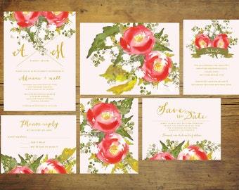 Printable Rosie and Pink Wedding Invitation Set   Wedding Invitation Suite, Watercolor Invitation, Floral, Pink, Red, Invitation
