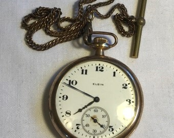 Vintage Gold Elgin Pocket Watch With Chain