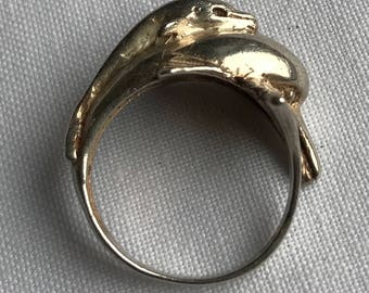 Vintage Sterling Silver Dolphin Ring-Size 5 1/4