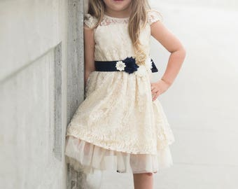 Navy Blue Flower Girl Dress, Flower Girl Dresses, Lace Girl Dress, Cream Lace Girl Dress, Ivory Lace Flower Girl, Lace Flower Girl Dress