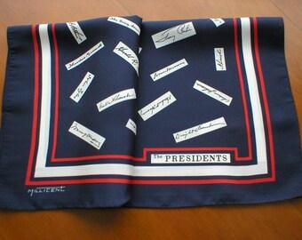 Vintage Designer Scarf ~ Signatures of US Presidents ~ Red, White and Blue Scarf ~ Designer Millicent Scarf ~ Patriot Scarf