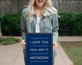 Michigan State Wolverines Gift, Michigan Dorm Decor, Housewarming Gift, I Love You From Here To MICHIGAN
