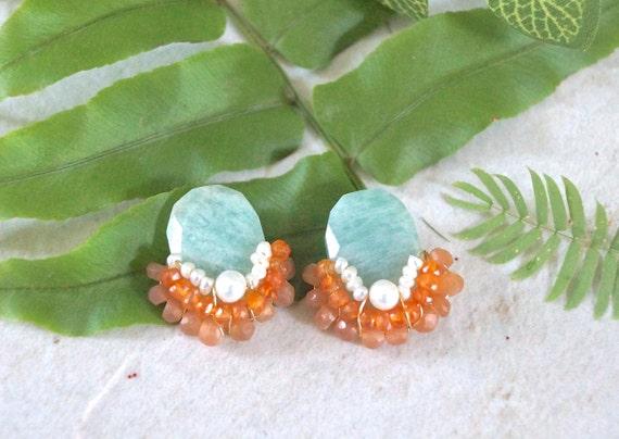 Gemstone stud earrings - blue and orange - wire wrapped cluster studs earrings