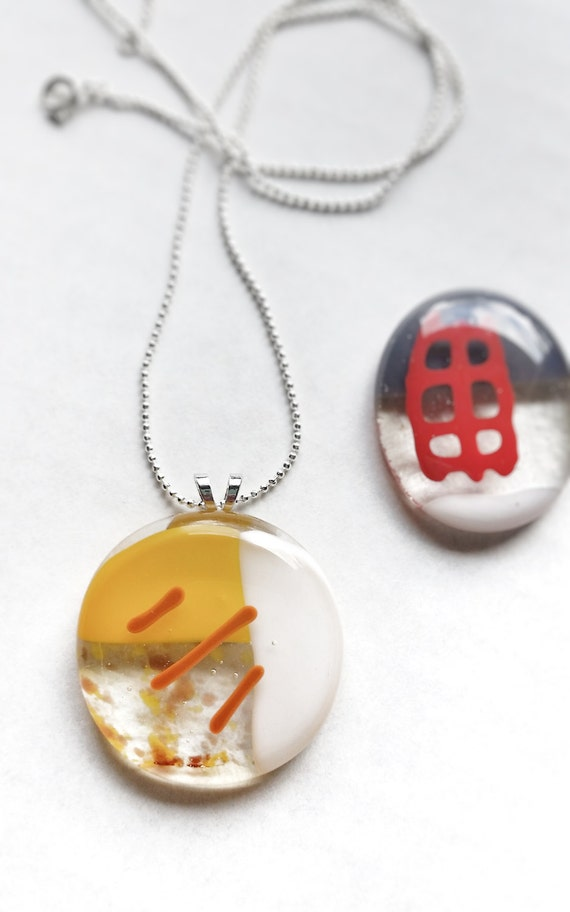 Glass Pendant, Yellow, Orange and White on Silver Chain