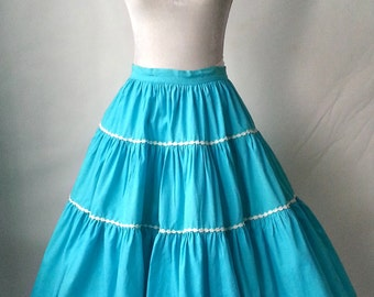 Vintage Aqua Blue and White Ruffled Skirt, Square Dancing