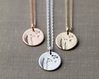Hand Stamped Nature Necklace | Summer Outdoors Trees Birds Nature Inspired Jewelry | Gift for Nature Lover | Woodland Necklace Boho Jewelry
