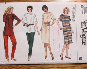 VINTAGE 1980's Tunic Top, Casual Shift Dress w/ Bateau Neckline & Tapered Pants - Size (12 - 14 - 16) - UNCUT Sewing Pattern Vogue 8215
