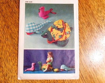 Stuffed Ride On Sea Turtle, Baby Turtle, Whale & Seal - VINTAGE Sewing Pattern Simplicity 5331