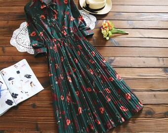 All sizes Handmade Accordion vintage Long Floral Green Dress, plus size dress, green dress, romantic dress, spring dress, floral dress