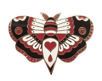 Silver Traditional Tattoo Style Moth Enamel Pin