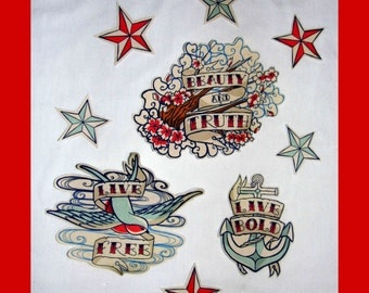 Cherry Blossom - Anchor - Swallow - Patches -  Tattoo - Rockabilly -  DIY  Iron On Fabric Organic Cotton Appliques Set of  9, 6, or 1 No Sew