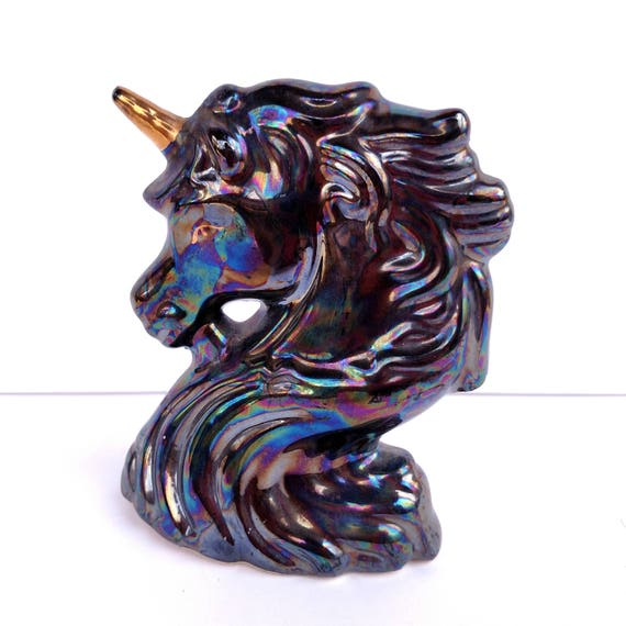 Vintage 1980's Black Luster Ware Unicorn with Gold Horn