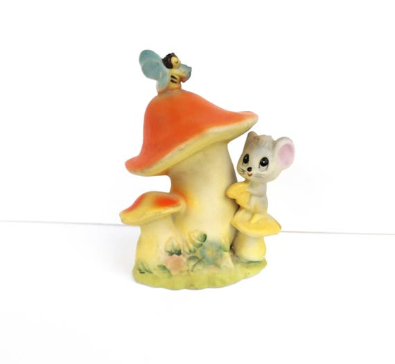 Vintage 1950s Mushroom with Mouse and Butterfly - by Lefton's