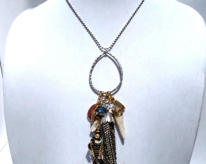 Silver Chain Tassel Necklace with Vintage Koi Pendant, Red Agate, Lapis and White Claw - Jasper and Koi