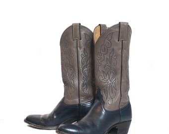 6 1/2 B | Vintage Women's Cowboy Boots Blue and Silver Justin Western Boots