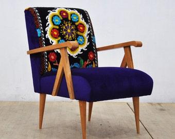 Wooden Armchair -  purple sun I