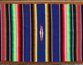 MOVING SALE Vintage Woven Serape Saltillo, Woven Wall Hanging Textile Art, Lightweight Wool Runner with Fringe, Mexican Fiber Art Boho