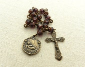 St. Andrew Chaplet - Pocket Chaplet - Amethyst Beads - Bronze Medal - Vintage Replica - Made in the USA