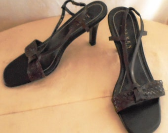Vintage Sandals 1990s Ralph Lauren Leather Sandals Brown Woven High Heels Size 7