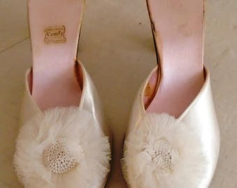Vintage 1950s White Satin Slippers with Net Poofs on Toes Size 9