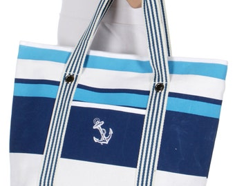 Embroidered Stripes and Anchor Tote, Beach Bag, Sailor Tote, Nautical Tote, Rope Handles Tote, Large Nautical Tote, Travel Bag, Beach Tote