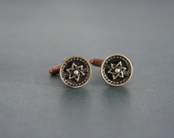 Star of David Cufflinks Jewish Judaism Six Point Star Cuff Links Mens Accessories made with vintage buttons