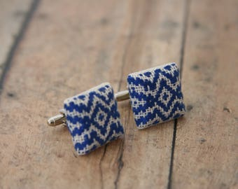 Blue and White Cufflinks Woven Fabric Cuff Links Hipster Cloth Buttons Hanukkah - made with fabric buttons