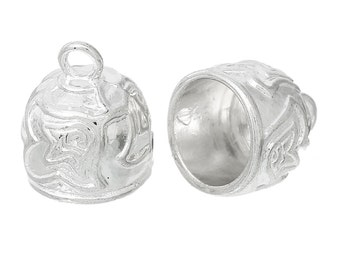 10 Silver Plated Cord End Caps for Kumihimo Jewelry, Leather Cord End Connectors, Bails, Bead Caps, carved design, fits 12mm, fin0650