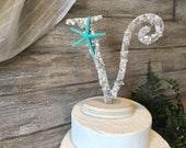 "Beach Wedding Cake Topper, Starfish Cake Topper, Seashell Cake Topper, Initial Cake Topper, Letter Cake Topper, Beach Cake Topper, 6"" or 9"""