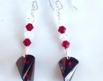 Ruby Red Crystal Earrings, Dangle Earrings, Chandelier Earrings, Swarovski Crystal Earrings, Sterling Earrings, Hand Made in America, Gifts