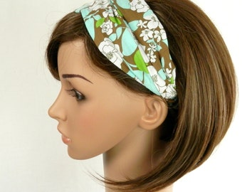 Cotton Headband Retro Floral Print in Brown Robins Egg Blue, Green and White Hair Fashion Handmade by Thimbledoodle