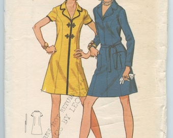 1970's Butterick 5840 Misses' Front Zip Princess Seam A-Line Dress Notched Collar Bust 41 UNCUT