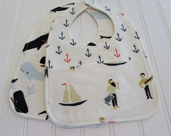 SWEET NATURALS/Organic Line/Baby Bib/Infant--18 mo./Set of Two Bibs/Saltwater(Organic)/Organic Fleece Back