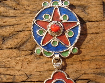 Moroccan medium star hand made  enamel pendant with  blue background and red jewel