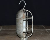 Vintage Metal Light Bulb Guard - Industrial / Primitive Cage With Hook - Sconce / Lamp / Fixture - Altered Art / Upcycle / Assemblage