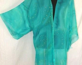 blue green silk kimono, silk robe, silk jacket, festival wear, resort wear, beach coverup, ceremonial wear, chiffon silk kimonok