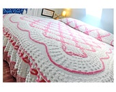 "Chenille bedspread, pink, white, qeeen, all cotton, 105"" x 96"", queen size, full, cottage chic, beach, fresh, feminine"