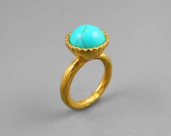 Natural Turquoise Ring, Large Gold ring, Genuine Turquoise Ring, Blue Turquoise jewelry, December Birthstone, Ethnic Ring, Statement Ring