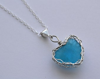 Aqua Genuine Sea Glass From Puerto Rico Hand Knitted Fine Silver Wire  Heart Pendant with 20 inch chain Necklace