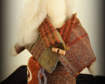 She Who Whispers to the Deer. Needle felted art doll.