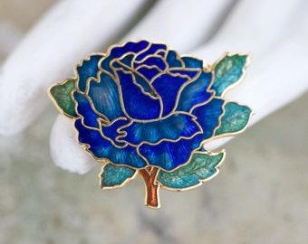 Art Nouveau Flower Lapel Pin - Vintage Blue Enamel Brooch