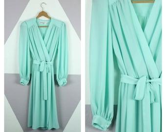Vintage 1970's Aqua Blue Long Sleeve Wrap Midi Dress M