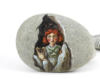 Painted stone. Ready to ship.  Express Free shipping Little fairy with ferret , sprite of the forest painted pebble. Beach pebbles art