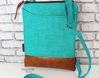 ZOE Messenger Cross Body Sling Bag - Teal Denim -  with Outside Pocket and PU Leather  READY to SHIp