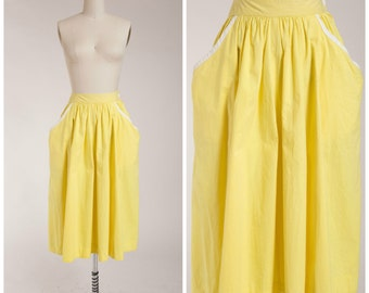 1950s Vintage Skirt • Warm Radiance • Bright Yellow Cotton Early 50s Cotton Full Skirt Size Small