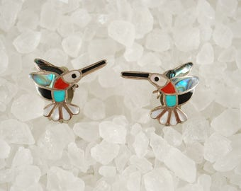 Vintage Zuni Snowa Esalio Hummingbird Earrings Silver Coral Turquoise Mother of Pearl Southwest Design 1980's Clip back Design Artist Signed